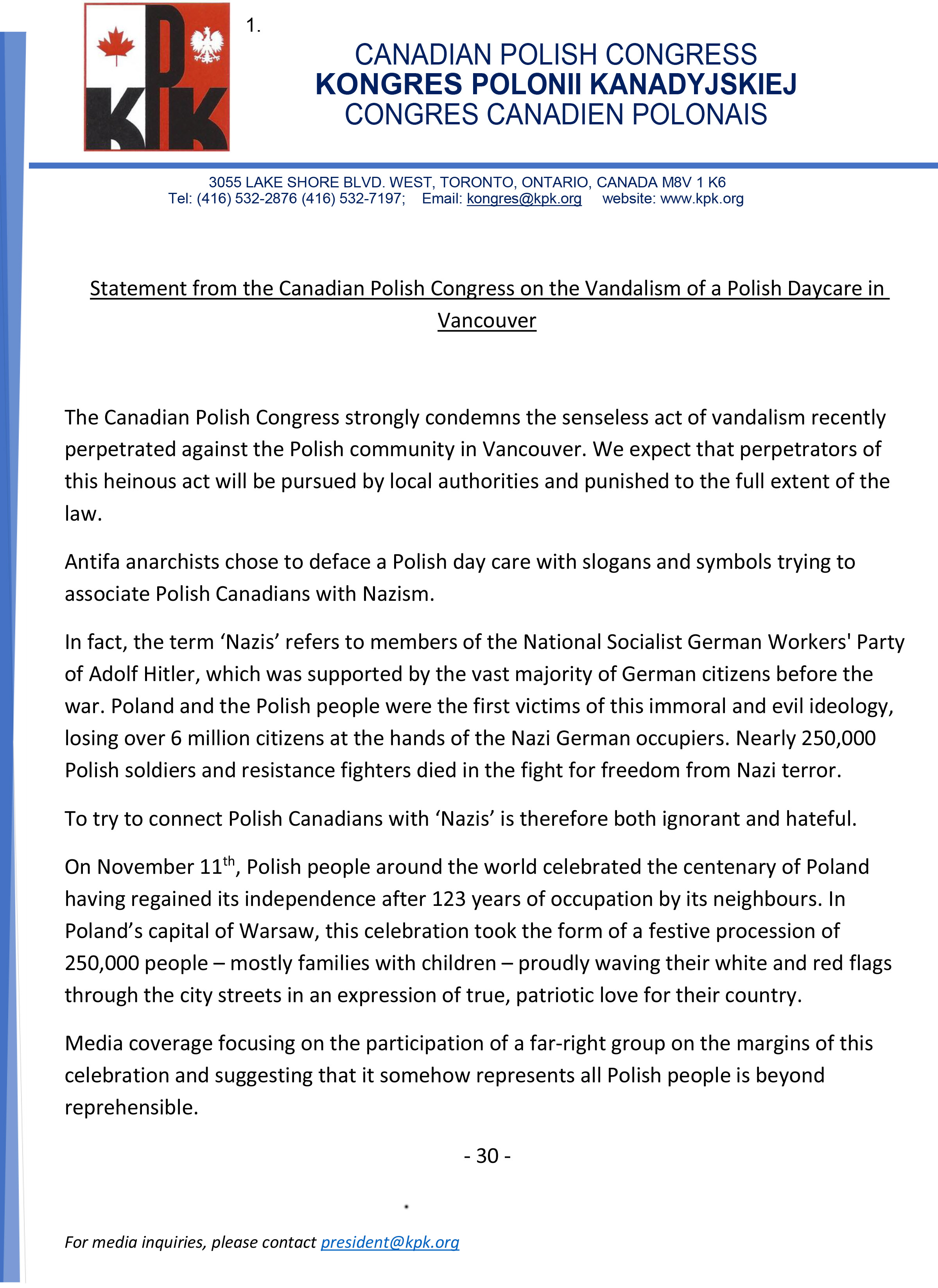 CPC Statement on Vandalism of Polish Daycare in Vancouver