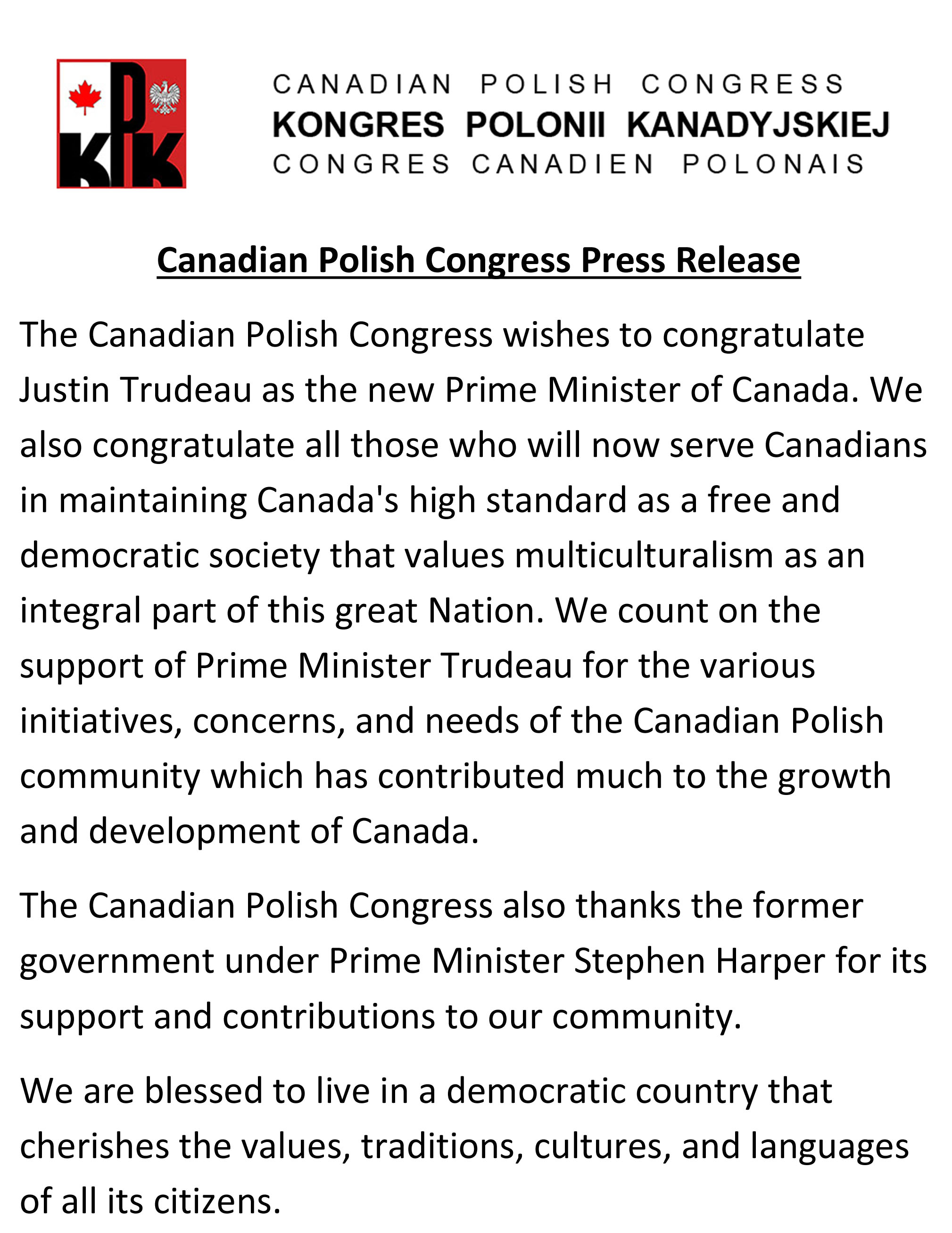 KPK Canadian Polish Congress Press Release elections 2015